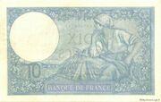 10 francs Minerve (type 1915 modifié) – reverse