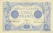 5 Francs - Blue, type 1905 – obverse