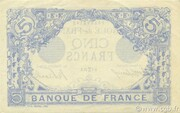 5 Francs - Blue, type 1905 -  reverse