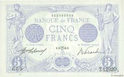 5 Francs - Blue (type 1905, inverted lion) – obverse