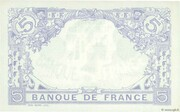 5 Francs - Blue (type 1905, inverted lion) – reverse