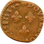 Double Tournois - Henri III (La Rochelle mint; 3rd type) – reverse