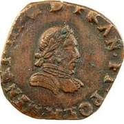 Double Tournois - Henri III (La Rochelle mint; 4th type; small portrait) – obverse