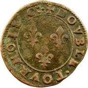 Double Tournois - Henri III (Toulouse mint; Type 1A) – reverse