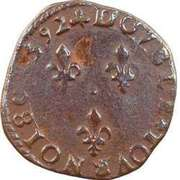 Double Tournois - Henri IV (La Rochelle mint; Latin text) – reverse