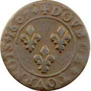 Double Tournois - Henri IV (Lyon mint; Type 1A) – reverse