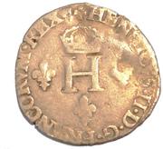 HENRI II Gros de trois blancs ou demi-gros de Nesle 1551 , Moulin de Nesle – obverse
