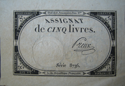 5 Livres (assignat of ...) – obverse