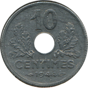 10 Centimes (Vichy French State; small issue) -  reverse