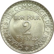 2 Francs (Chambers of Commerce) -  reverse