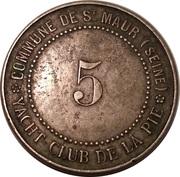 5 Francs - Yacht Club de la Pie (Saint-Maur-des-Fossés) – reverse