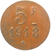 5 Franc - M. Camboulives - Cantinier - Rochefort [17] – reverse