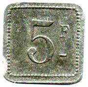 5 Francs - Cantine Girard 77ème d'Infanterie (Cholet) – reverse