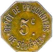 5 Centimes - Dépot de Prisonniers de Sédières (Clergoux) – obverse