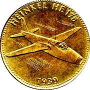 Shell Token - Man in Flight (#10 - Heinkel HE 178, 1939) -  obverse