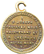 Medallion - S. Joseph – reverse