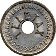 Telephone Token - Teletax (with a round hole) – obverse