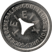 Telephone Token - Teletax (with a large triangular hole; non magnetic) – obverse