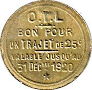 Bon pour un trajet de 25 Centimes OTL Lyon [69] – reverse