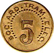 5 Centimes - Société Ardéchoise de Tramways Electriques (Aubenas) – reverse