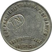 50 Centimes - Compagnie de Tramways de Nantes – reverse