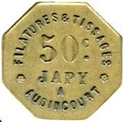 50 Centimes - Filatures et Tissages JAPY (Audincourt) – obverse