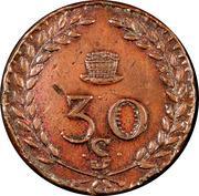30 S (ous) Louis XVIII - Mines d'Aniche [59] – reverse