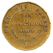 2 Francs (Entreprise Morel - Fort des barres) – obverse