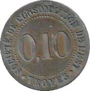 10 Centimes - Société de Consommation de l'Est (Troyes) – reverse