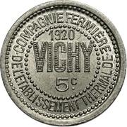 5 centimes - Compagnie fermière de l'établissement Thermal - Vichy [03] – obverse