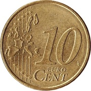 10 Euro Cent (1st map; coarse reeding) -  reverse