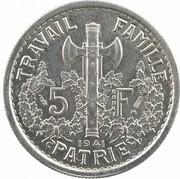 5 Francs (pattren of Bazor, Pétain 1st type) -  obverse