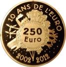 250 Euro (10 Years of Euro Cash) – reverse