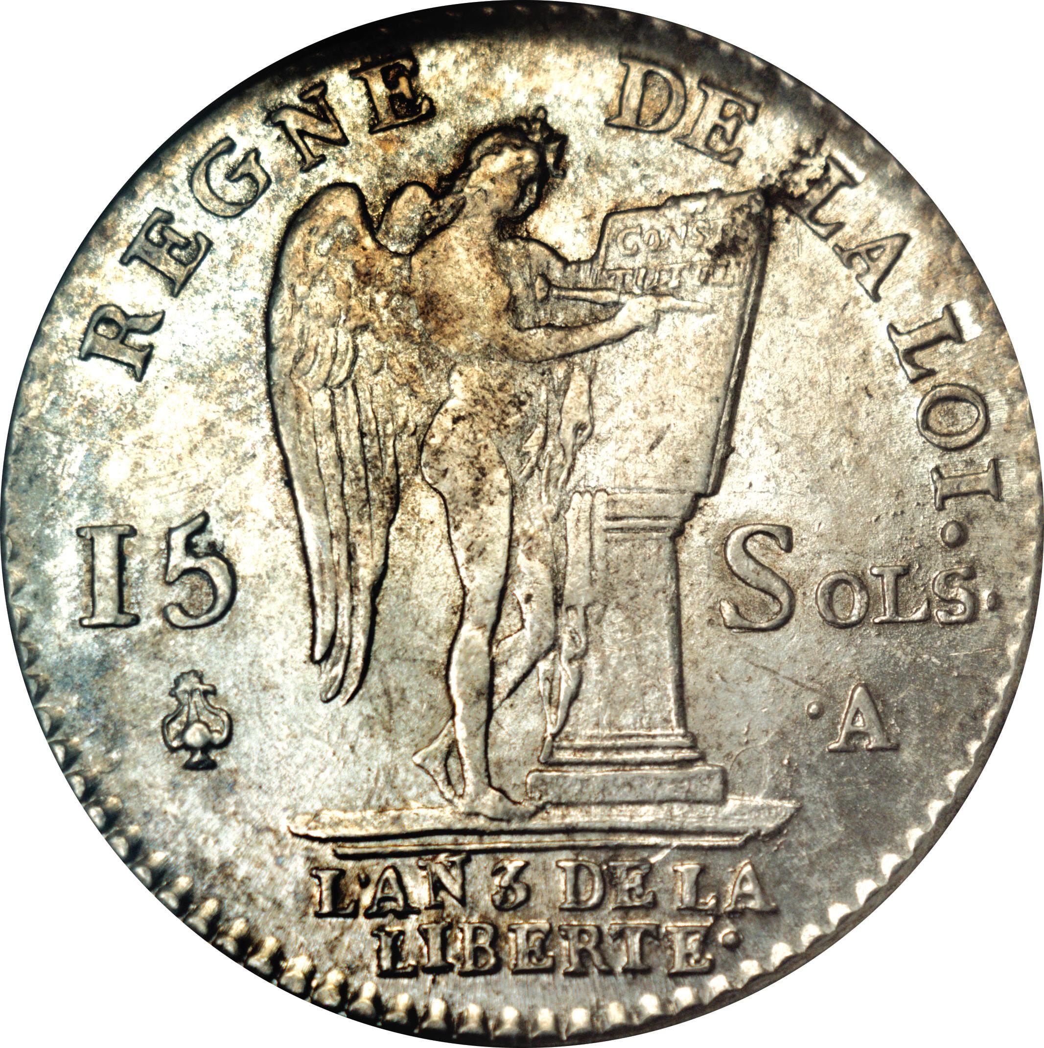 15 sols au g nie type fran ois louis xvi constitution france royaum - Sol en piece de monnaie ...
