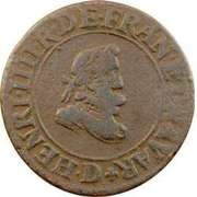 Double Tournois - Henri IV (Lyon mint; Type 1A) – obverse
