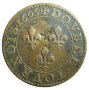 Double Tournois - Henri IV (Paris mint; 2nd type; French text) – reverse