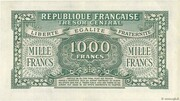 1000 francs Marianne (type 1945, chiffres maigres) – reverse