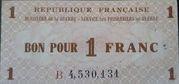 1 Franc - Service des prisonniers de guerre -  obverse