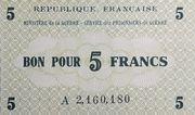 5 Francs Service des prisonniers de guerre -  obverse