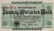 20,000,000,000 Mark (Reichsbahndirektion) – obverse