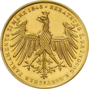 2 Gulden (Gold pattern strike; Goethe Centennial) – obverse
