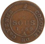 2 Sous - Colony of Cayenne - King Louis XVI – reverse