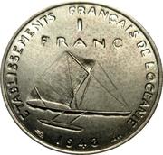 1 Franc (Essai, raised design) – reverse