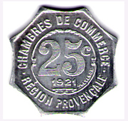 25 Centimes (Provisional Regions) – reverse