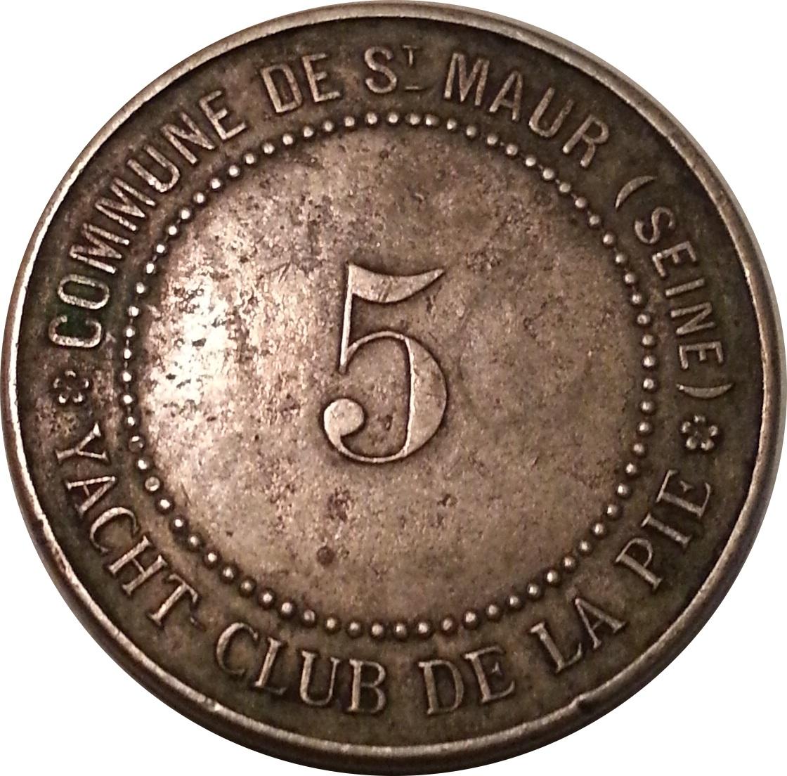 5 francs yacht club de la pie saint maur des foss s 94 french cities numista. Black Bedroom Furniture Sets. Home Design Ideas
