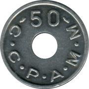 50 Francs (Emergency Coinage) – reverse