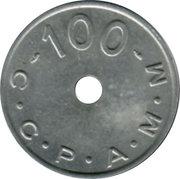 100 Francs (Emergency Coinage) – reverse