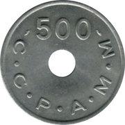 500 Francs (Emergency Coinage) – reverse
