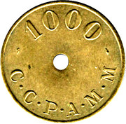 1000 Francs (Emergency Coinage) – obverse