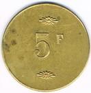 5 Francs - Veilleden (Chantilly) – reverse